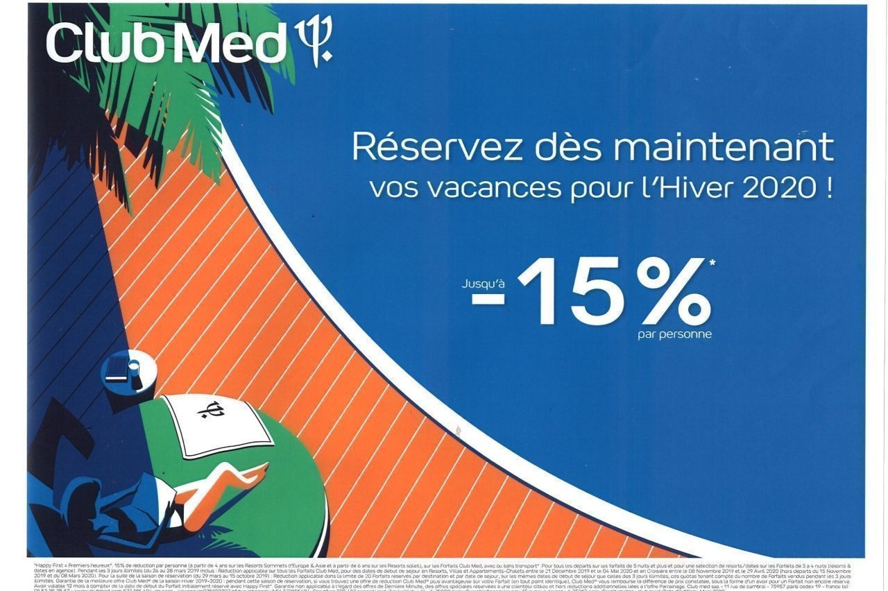 THOMAS COOK - CLUB MED hiver 2020     - 15%*